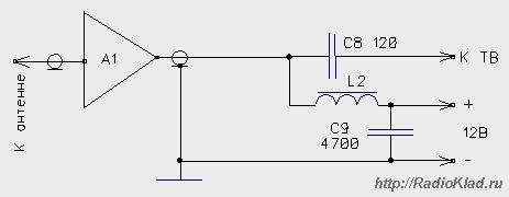 Схема подключения антенного усилителя