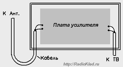 Схема соединения антенного усилителя